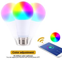 7W E27 Smart RGB LED Light,RGB Color Changing LED Light Bulb Wireless Dimmable Lamp