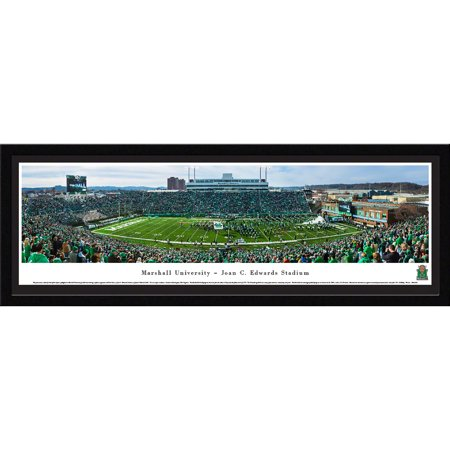 Marshall University Football   50 Yard Line At John C  Edwards Stadium   Blakeway Panoramas Ncaa College Print With Select Frame And Single Mat