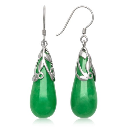 Natural Jade Teardrop Sterling Silver Drop Dangle Earrings