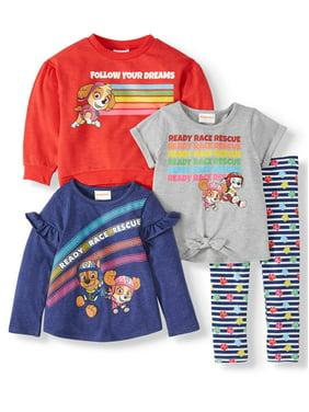 Paw Patrol Toddler Girl Sweatshirt, Long Sleeve Top, Short Sleeve T-shirt & Leggings, 4pc Outfit Set