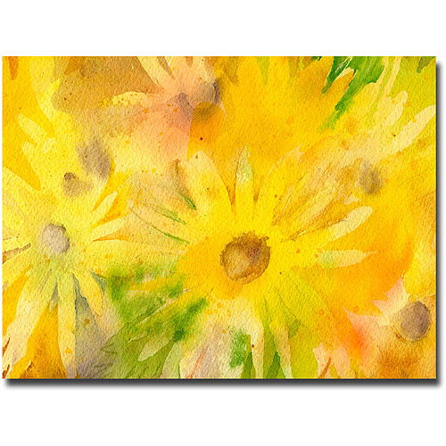 "Trademark Art ""Yellow Wildflowers"" Canvas Wall Art by Shelia Golden"