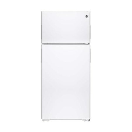 Gpe16dthww 28 Top Freezer Refrigerator With 15 5 Cu  Ft  Capacity  Adjustable Humidity Drawers  Adjustable Wire Shelf  Gallon Door Storage  Recessed Handles And Wire Freezer Shelf In White