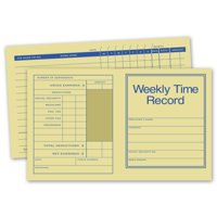 Pocket Size Weekly Time Records, 250 Cards