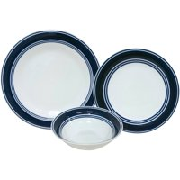 Mainstays Blue Banded 12-Piece Dinnerware Set