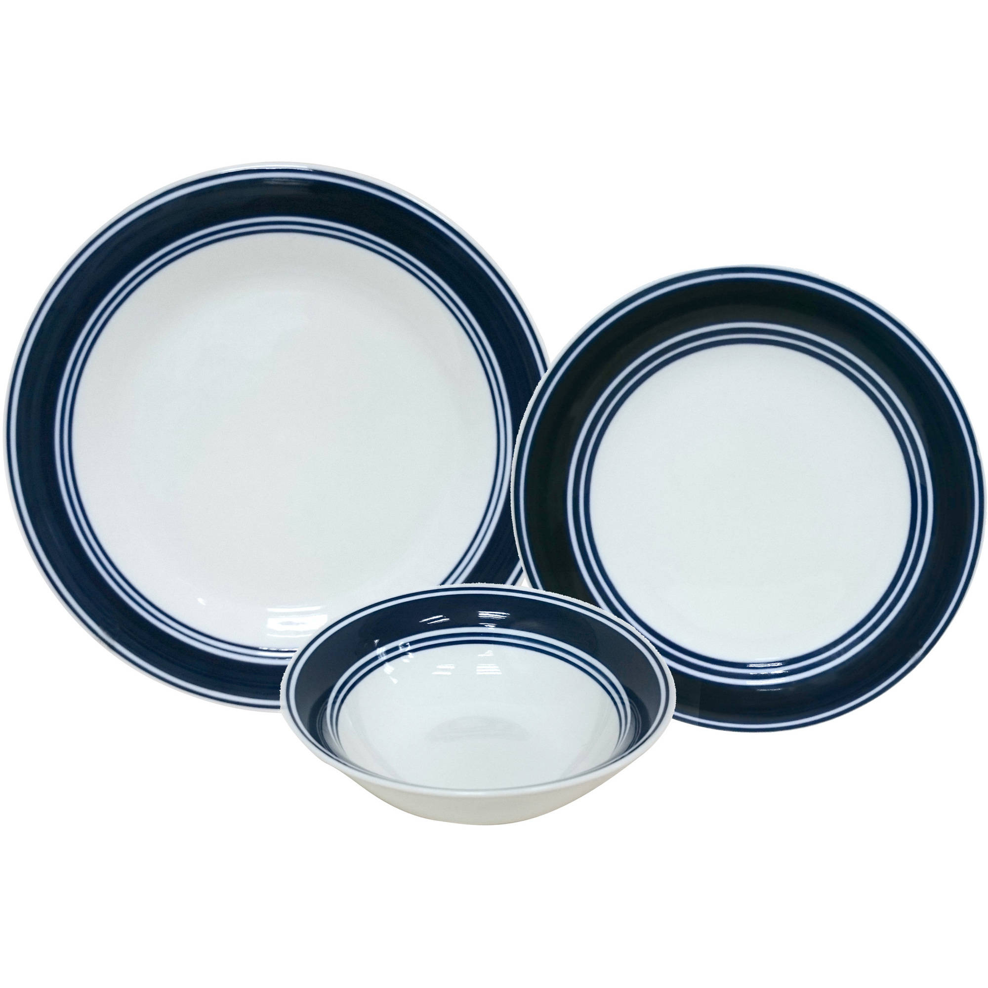 Mainstays Blue Banded 12-Piece Stoneware Dinnerware Set