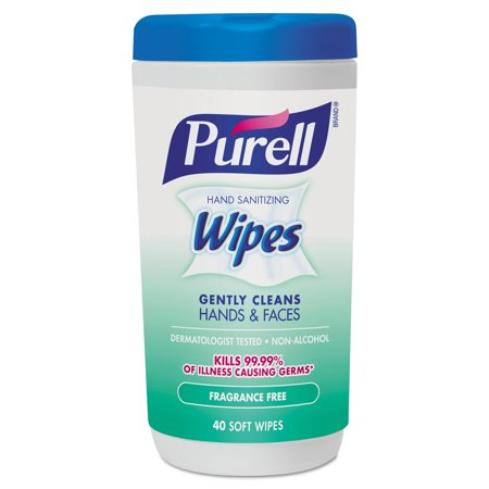 PURELL® Hand Sanitizing Wipes Fragrance Free, 40 Count Canister, 6 Pack Antibacterial Hand Sanitizing Spray