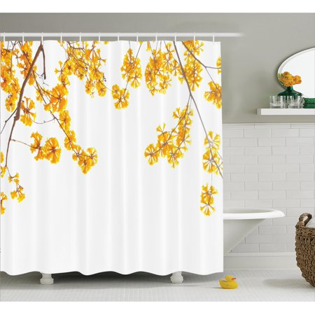 Fall decor shower curtain set flower tree branches bloom for Spring bathroom decor