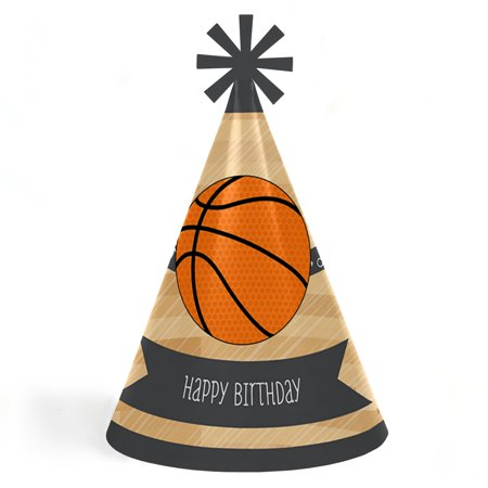 Nothin' But Net - Basketball - Cone Happy Birthday Party Hats for Kids and Adults - Set of 8 (Standard Size) - Happy Birthday Kids