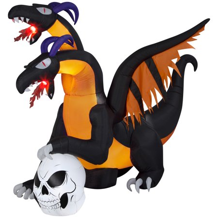 Halloween Airblown Inflatable 7 ft. Two Headed Dragon with Flaming Mouth by Gemmy Industries