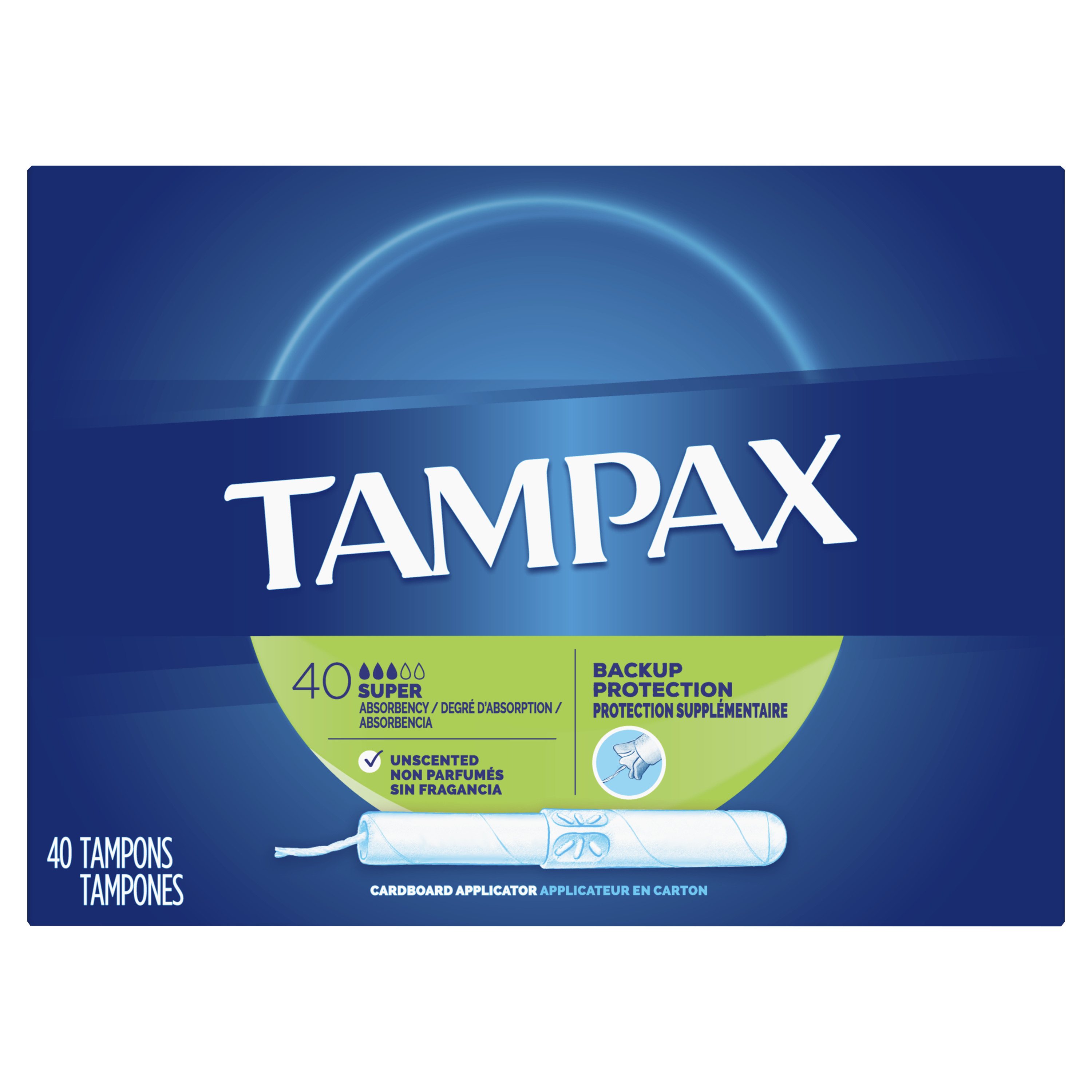 TAMPAX Cardboard Tampons Super Unscented, 40 Count