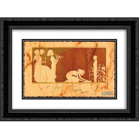 Black Ivory Art (Raphael Kirchner 2x Matted 24x20 Black Ornate Framed Art Print 'Ivory sculpture')