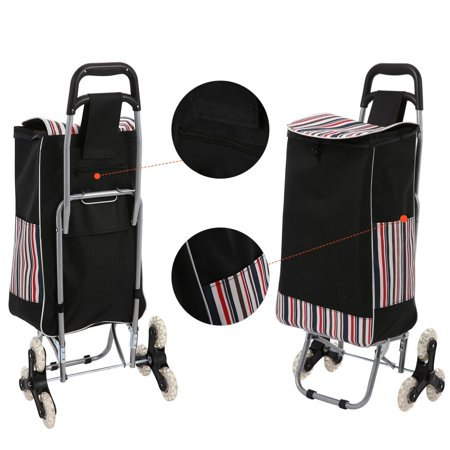 Double Basket Black Folding Utility Cart  Rolling Storage Shopping Carrier  Waterproof Stainless Steel