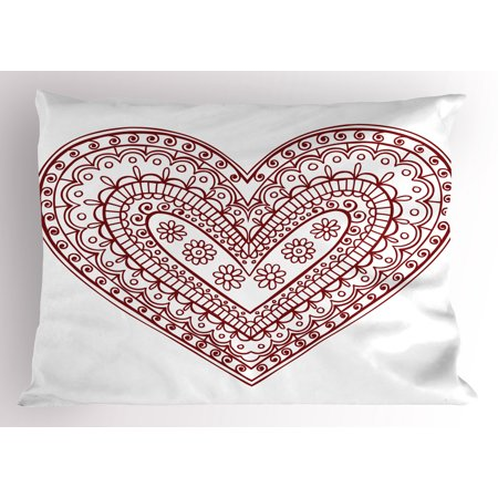 Henna Pillow Sham Paisley Doodle in Heart Shapes Little Blossoms Swirls Curves Hippie Sixties Influence, Decorative Standard Queen Size Printed Pillowcase, 30 X 20 Inches, Ruby White, by Ambesonne
