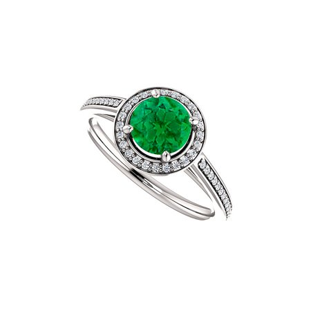 Cubic Zirconia Accented Emerald Halo Ring 925 Silver - image 2 of 2
