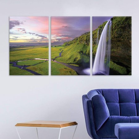 wall26 3 Panel Canvas Wall Art - Landscape Waterfall on The Cliff ...