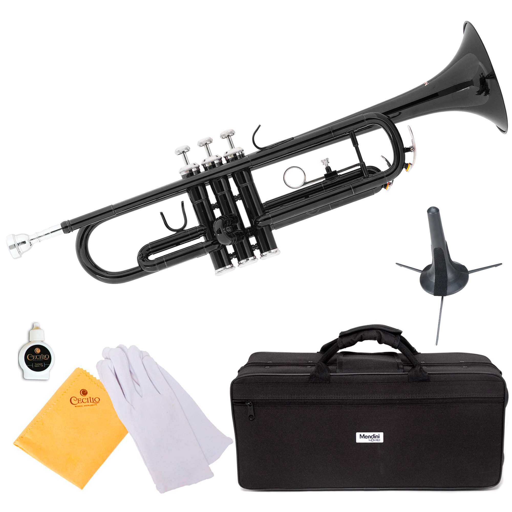 Mendini by Cecilio MTT-BK Black Lacquer Brass Bb Trumpet with Trumpet Stand and Durable Deluxe Case