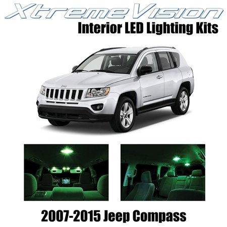 XtremeVision LED for Jeep Compass 2007-2015 (4 Pieces) Green Premium Interior LED Kit Package + Installation Tool ()