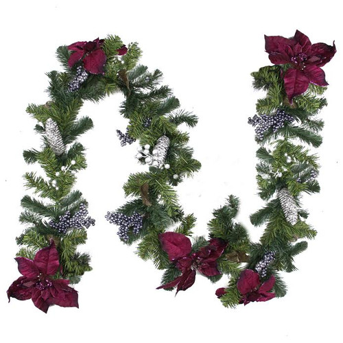 Northlight Seasonal Two-Tone Pine with Poinsettias Berries and Pine Cones Christmas Garland with Unlit