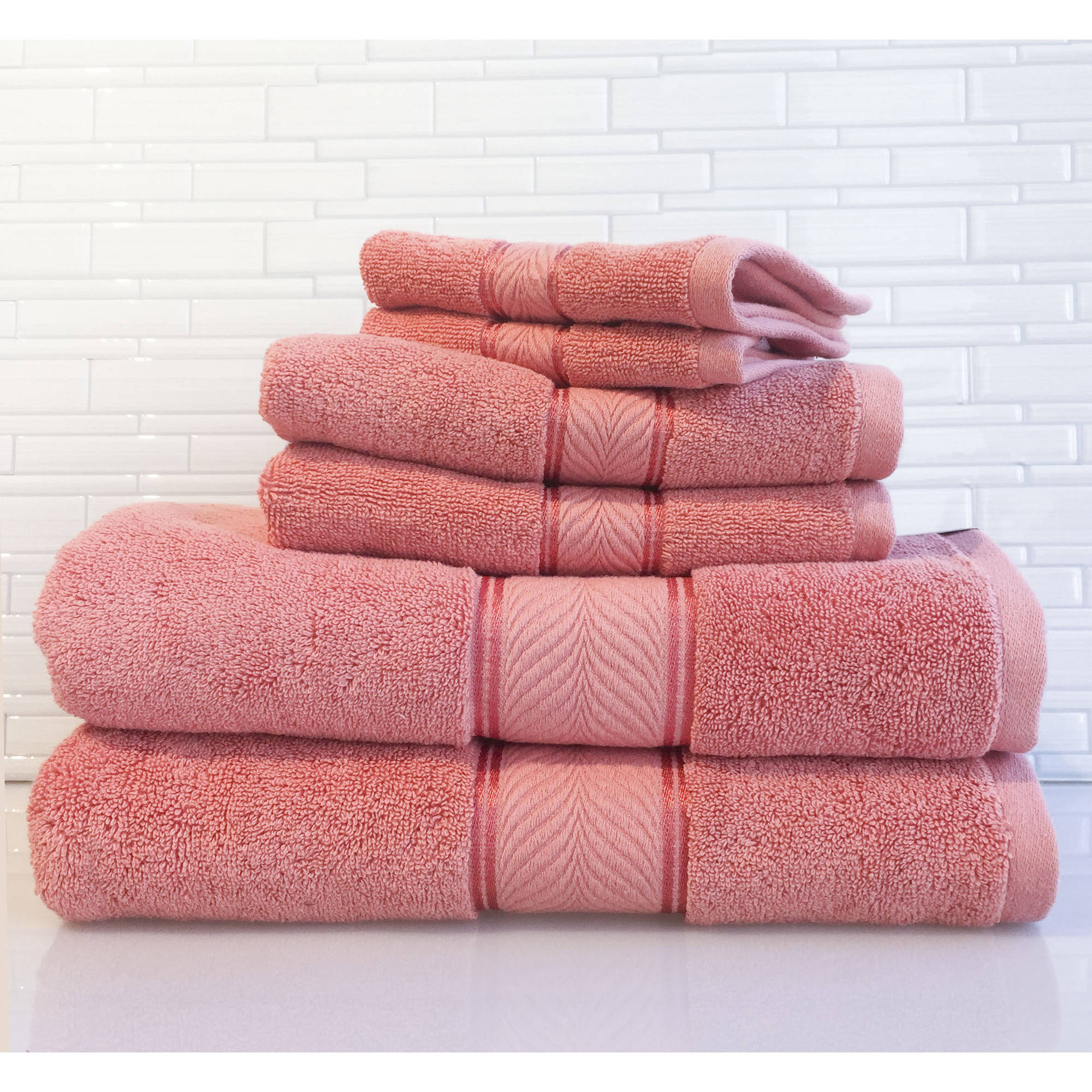 Better Homes and Gardens Thick and Plush Solid 6-Piece Towel Set, Gulf Coral