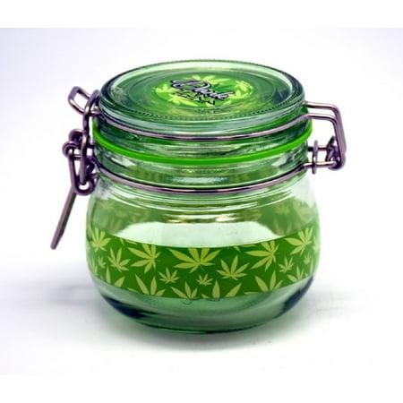 Medium Green Glass Silicone Sealed Storage Jar for Herbs and Tobacco 2.75 inch Green Glass Jar