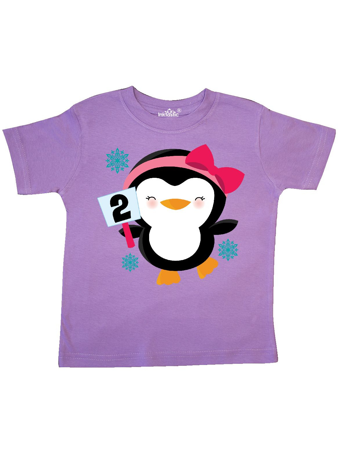 2nd Birthday Cute Penguin 2 Year Old Girl Toddler T-Shirt