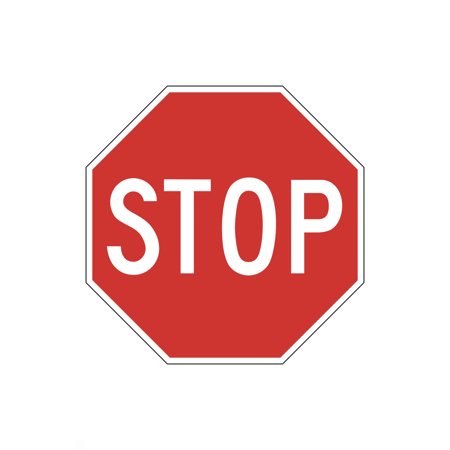 Red Stop Sign Picture Street Office School Business Sign - Plastic ()