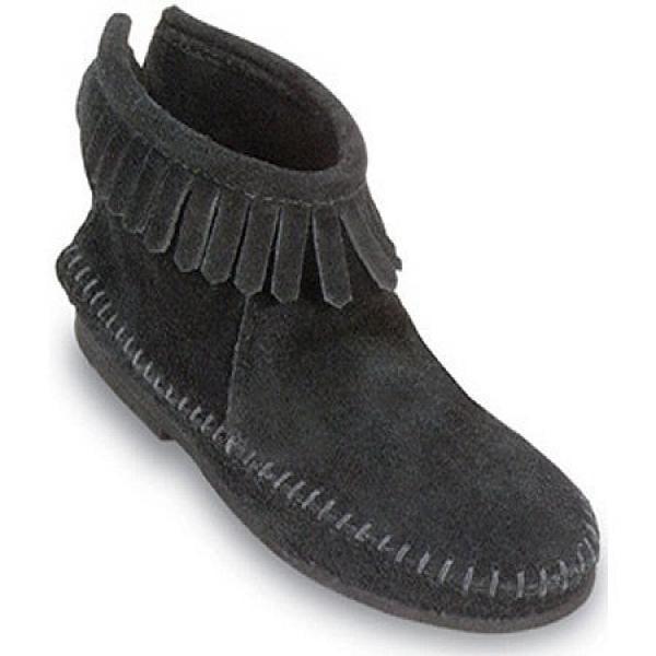 Minnetonka Women's Back Zipper Bootie,Softsole Black,8 M US by