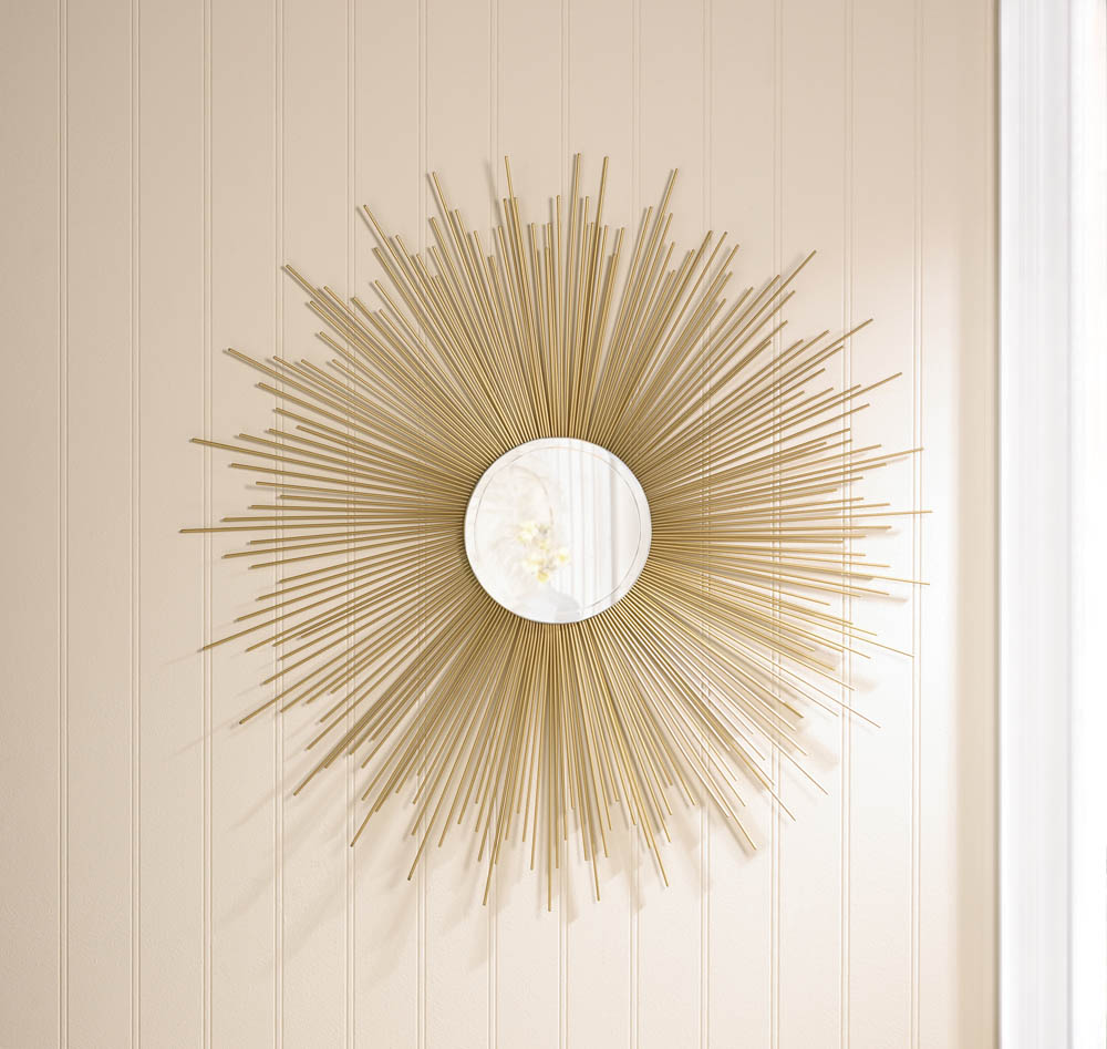 Round Mirror Wall Artwork, Iron Gold Framed Wall Mirrors Large For Living Room by Accent Plus