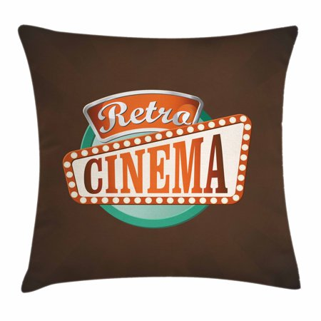 Movie Theater Throw Pillow Cushion Cover, Retro Style Cinema Sign Design Film Festival Hollywood Theme, Decorative Square Accent Pillow Case, 16 X 16 Inches, Brown Turquoise Vermilion, by Ambesonne - Hollywood 16 Cinema