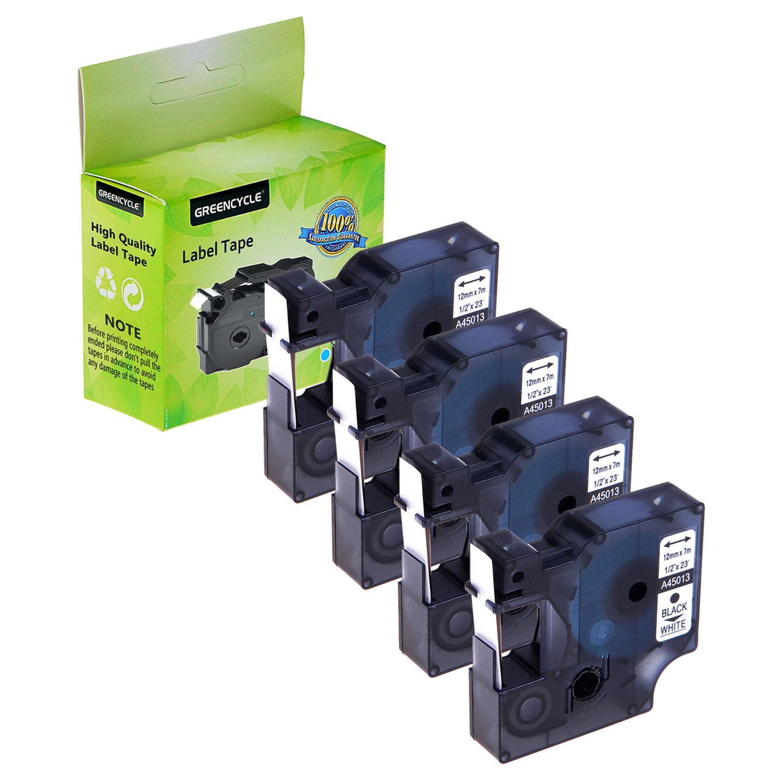 6 PK 12mm Black on White 45013 Tape For Dymo D1 Label Maker LabelManager 160 200