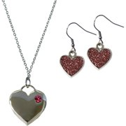 Silver-Tone Heart Necklace and Earrings