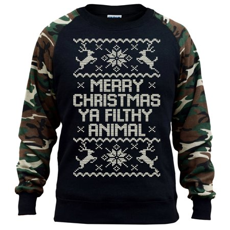 376519d2 Men's Xmas Ya Filthy Animal Black/Camo Raglan Baseball Sweatshirt Small  Black - Walmart.com