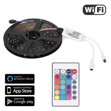 best service 87f39 fcc00 LED Strip Lights w/ Remote Wifi Controller Kit - Wireless Control LED Rope  Ribbon GRB Tape IP65 Water-Resist 12V Cuttable SMD 5050 Support Alexa Echo  ...