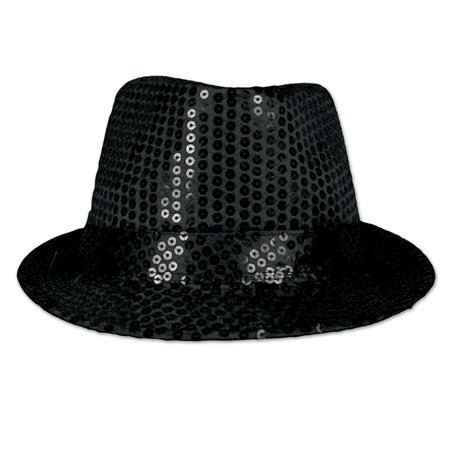 Club Pack of 6 Black Sequin Glitz 'N Gleam Fedora Party Hat Halloween Accessory - Sequin Fedora