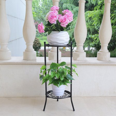 2-Tier / 4-Tier Elegant Metal Wooden Plant Stand Shelf Flower Pot Rack Holder Indoor Outdoor Black White Brown Outdoor Shelf Stand
