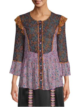 Sui by Anna Sui Women's Falling Leaves Print Top