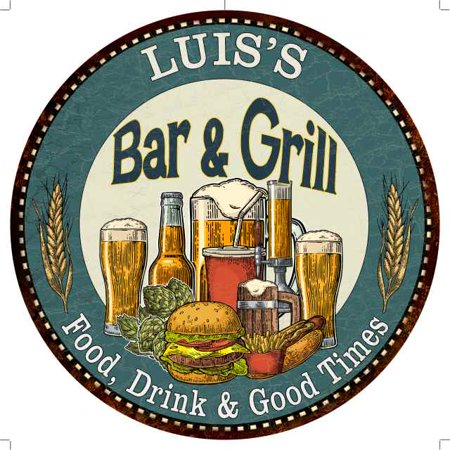 "LUIS'S Bar and Grill 14"" Round Metal Sign Kitchen Wall Decor 100140023084"