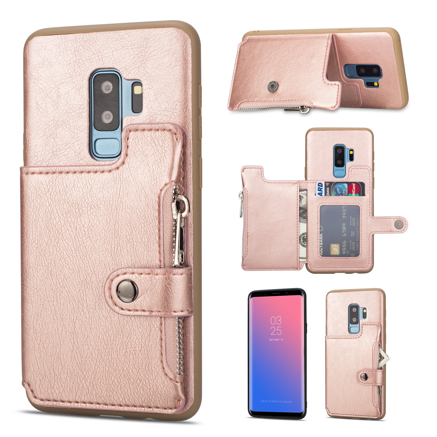 Galaxy S9 Plus Case, S9+ Case, Allytech PU Leather Slim Fit Heavy Duty Defender Shock-Absorbing Cards & Cash Holder Cover w/ Zipper Stand Wallet Cover for Samsung Galaxy S9 Plus, Rosegold