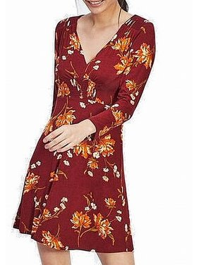 Womens A-Line Dress V-Neck Floral Print 10