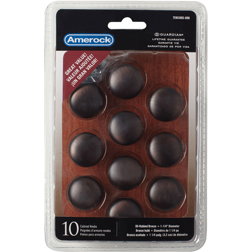 """Amerock Oil-Rubbed Bronze 1-1 4"""" Traditional Knobs, 10pk by Allison Value Hardware"""