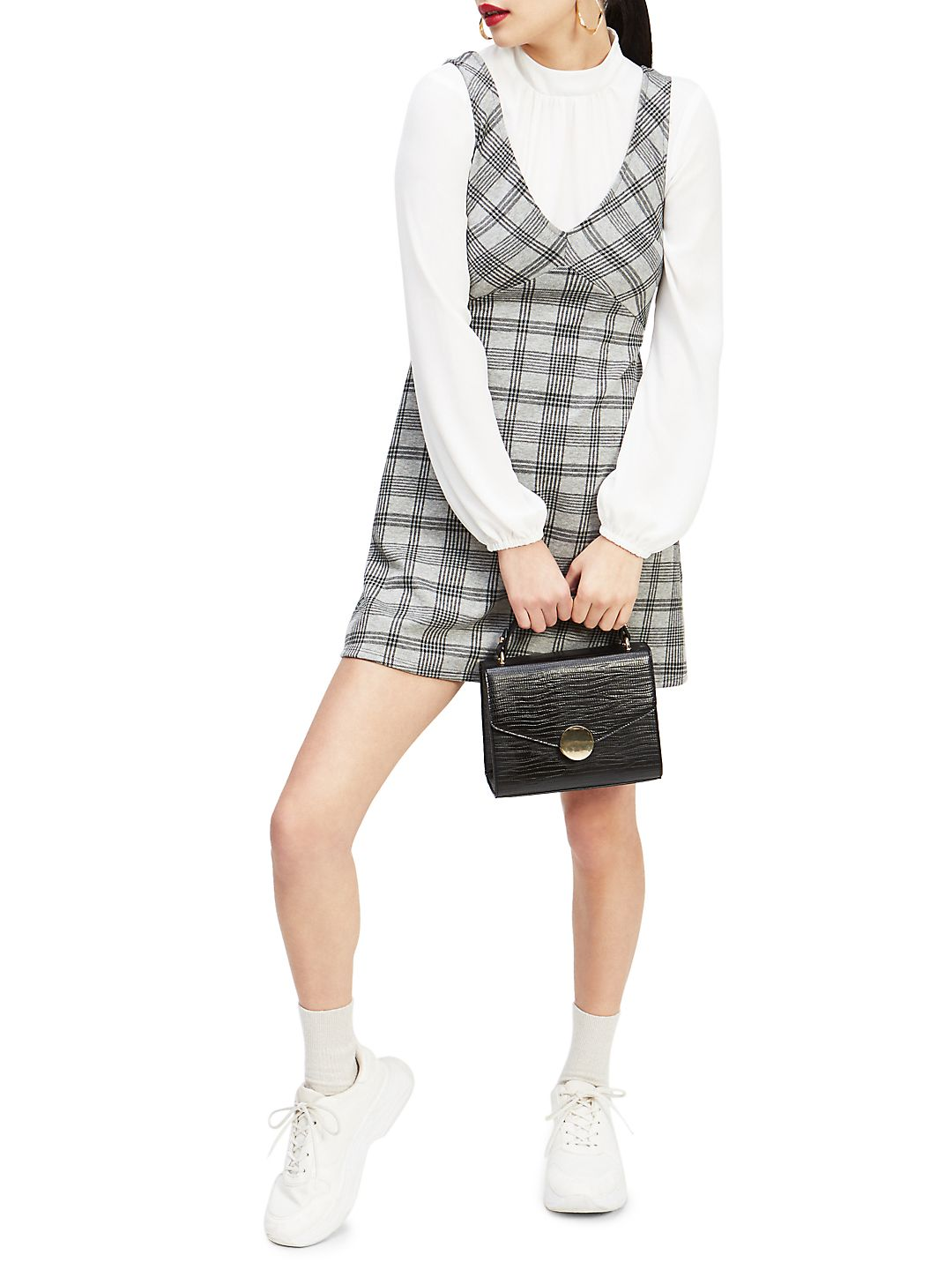 Brushed Dogtooth 2-in-1 Pinny A-Line Dress