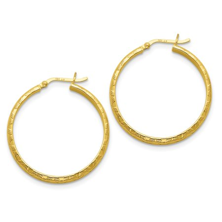 (925 Sterling Silver Gold-flashed Bamboo Patterned 35mm Hoop Earrings)