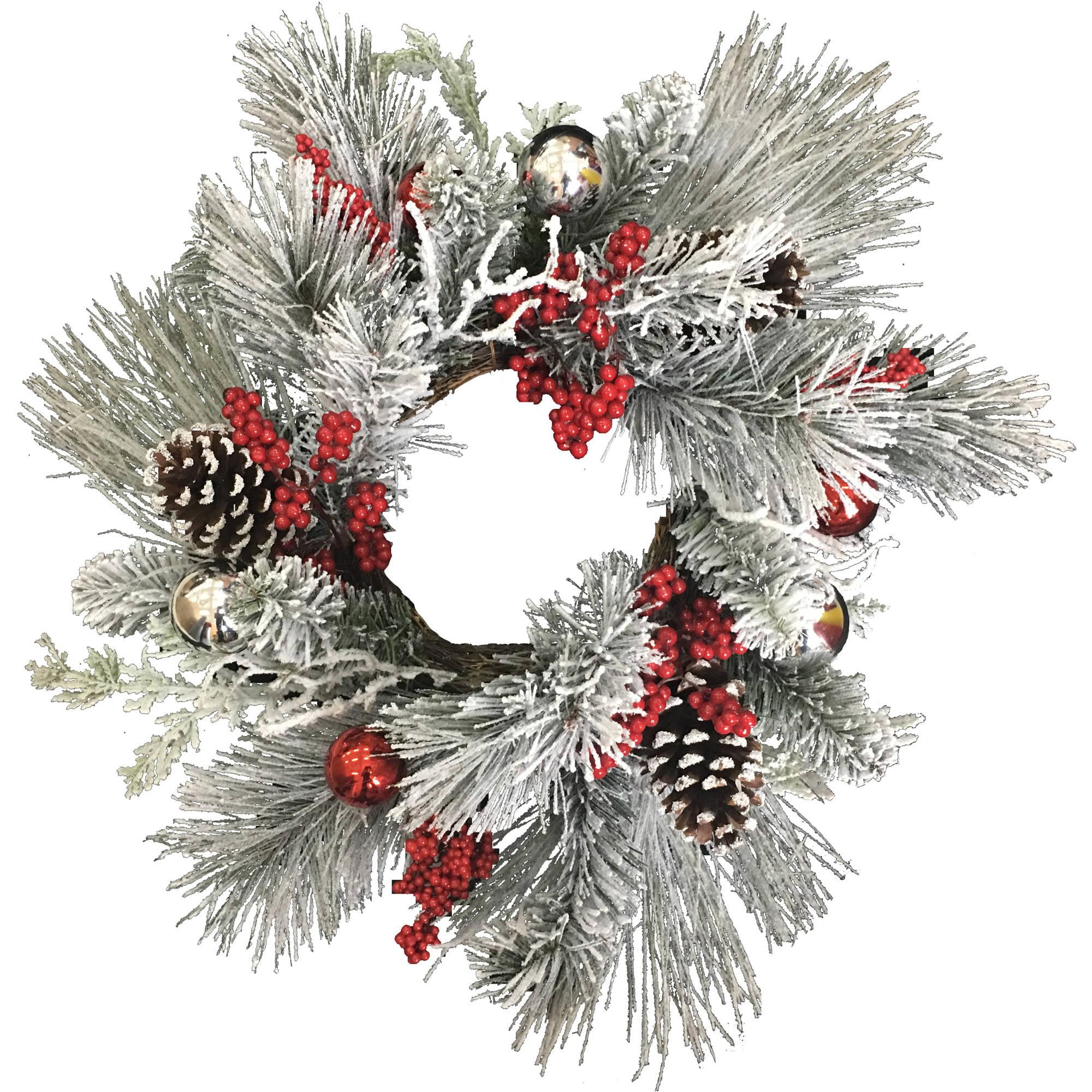 Flocked Ornamental Ball Mixed Wreath