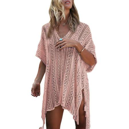 Loose Beach Dress Tops Summer Bathing Suit Women Knit Lace Crochet Hollow Out Casual Swim Cover ups V-neck Bikini (Swim Suit Woman)