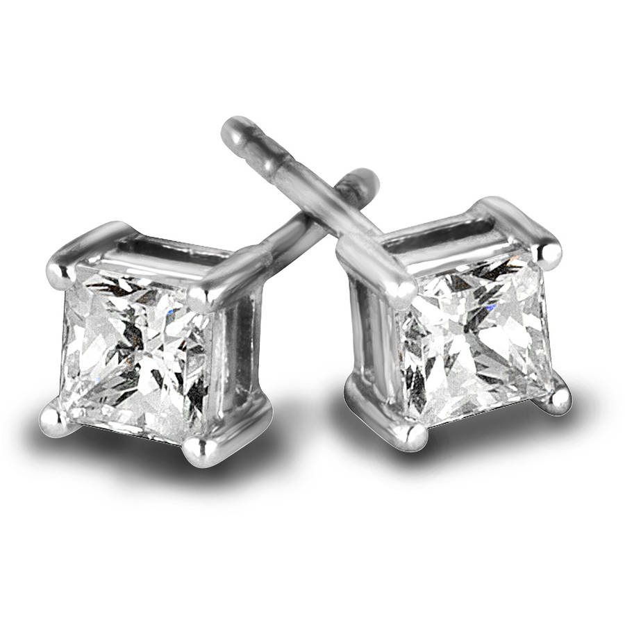3/4 Carat T.W. Princess Diamond 10kt White Gold Stud Earrings