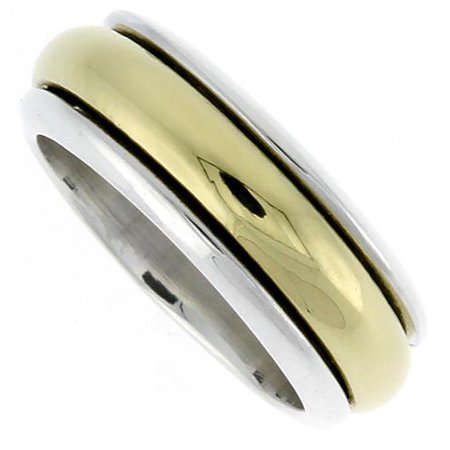 Sterling Silver Men's Spinner Ring with Brass Rotating Band Handmade 5/16 wide,