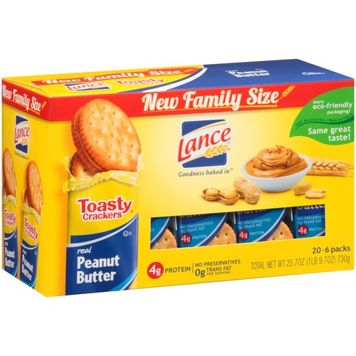 Lance Toasty Real Peanut Butter Sandwich Crackers, 20 count, 25.7 oz
