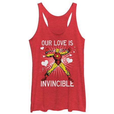 Man Front Tank - Marvel Women's Valentine Iron Man Invincible Love Racerback Tank Top
