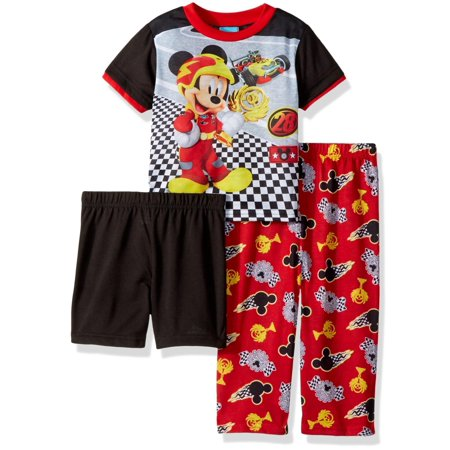 Disney Toddler Boys' Mickey Mouse 3-Piece Pajama Set, Engine Red, Engine Red, Size: 3T](Disney Boys Clothes)