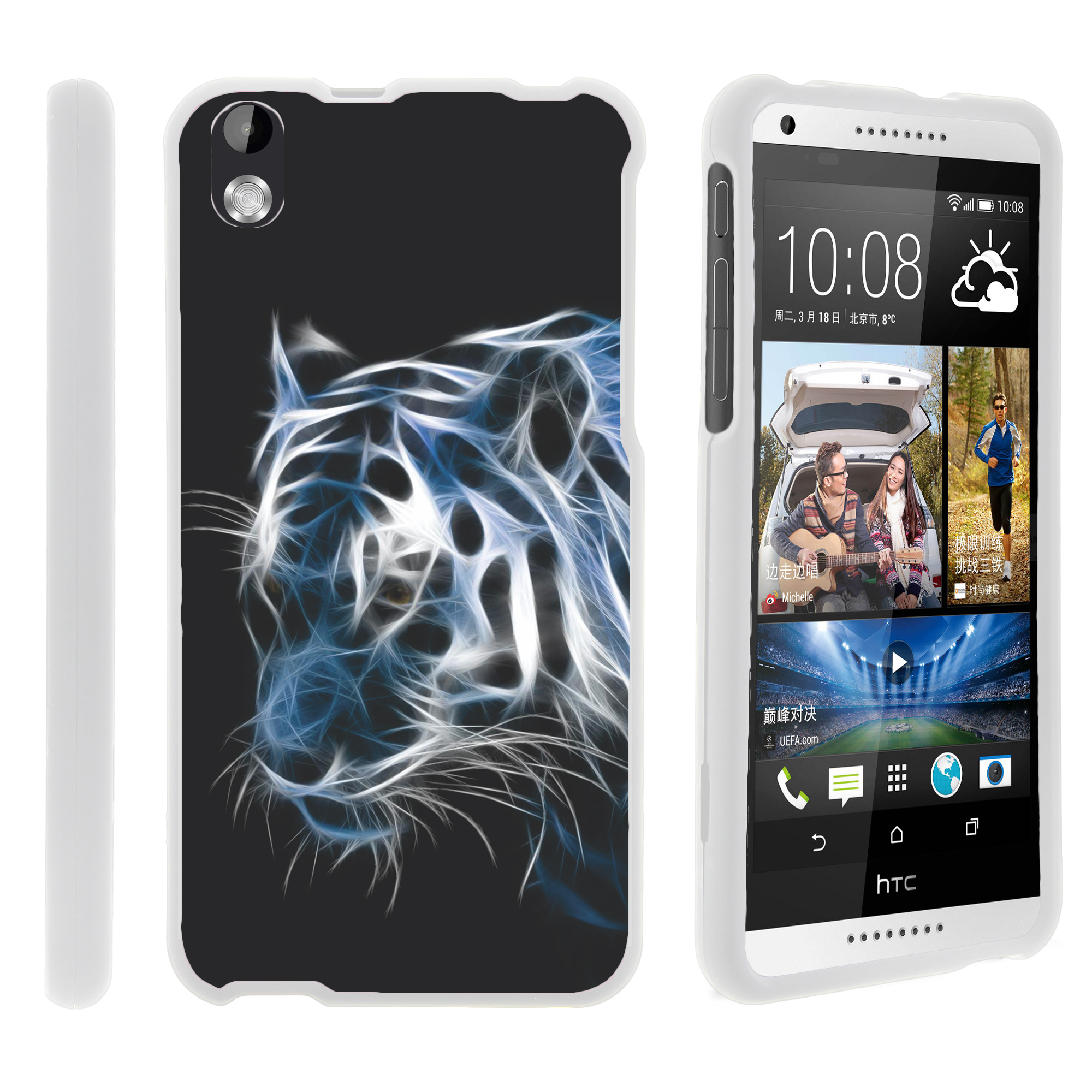 HTC Desire 816, [SNAP SHELL][White] 2 Piece Snap On Rubberized Hard White Plastic Cell Phone Case with Exclusive Art - White Dragon